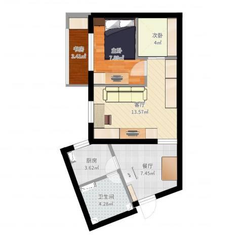 真西驰骋苑3室2厅1卫1厨55.00㎡户型图