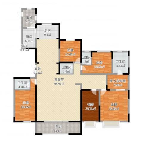 中海御龙湾5室2厅4卫1厨285.00㎡户型图