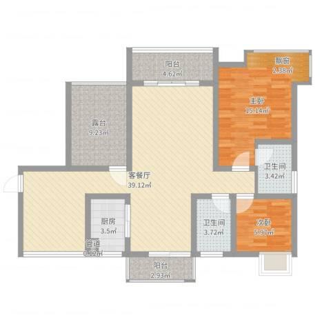 富盈香茶郡2室2厅2卫1厨110.00㎡户型图