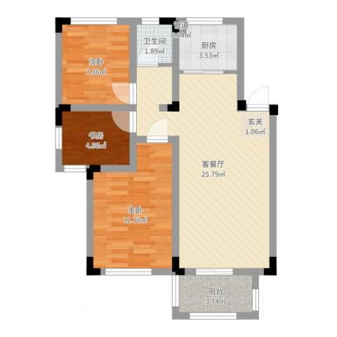 凡尔赛公馆3室2厅1卫1厨74.00㎡户型图