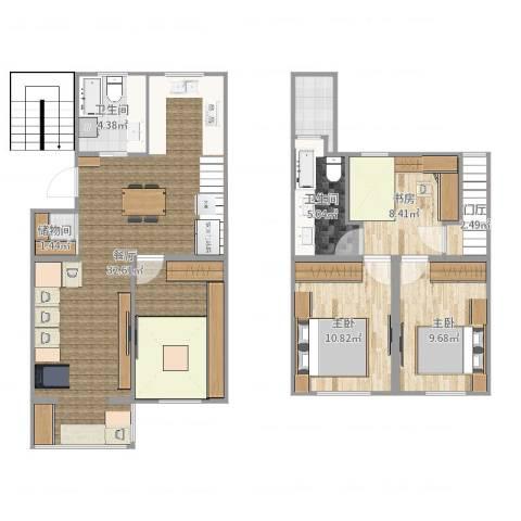 长江花园3室1厅2卫0厨109.00㎡户型图