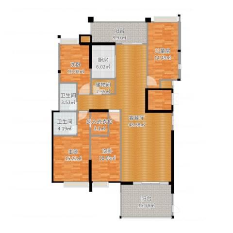 丽景华庭4室2厅2卫1厨184.00㎡户型图