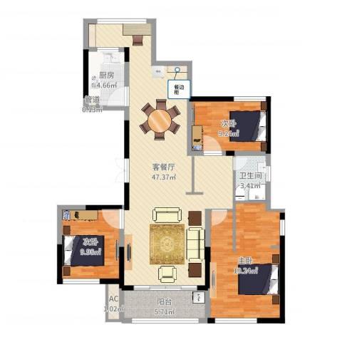 杰仕豪庭3室2厅3卫1厨126.00㎡户型图
