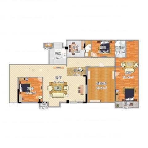黄州宇济一号3室2厅1卫1厨238.00㎡户型图