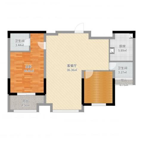 常熟新世纪花苑三期1室2厅2卫1厨101.00㎡户型图