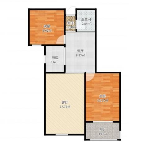凌透花园2期2室2厅1卫1厨73.00㎡户型图