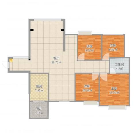 中港世纪嘉城4室1厅1卫1厨151.00㎡户型图
