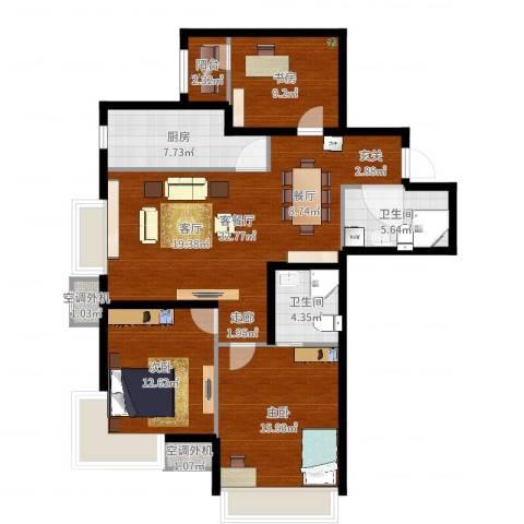 新松・茂樾山3室2厅2卫1厨116.00㎡户型图
