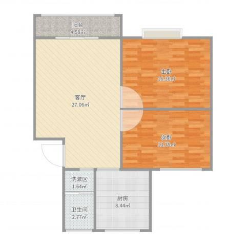 丽泽兰馨苑58号201室80平2室1厅1卫1厨93.00㎡户型图