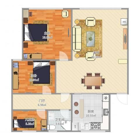 蜀南庭苑3室1厅1卫1厨103.00㎡户型图