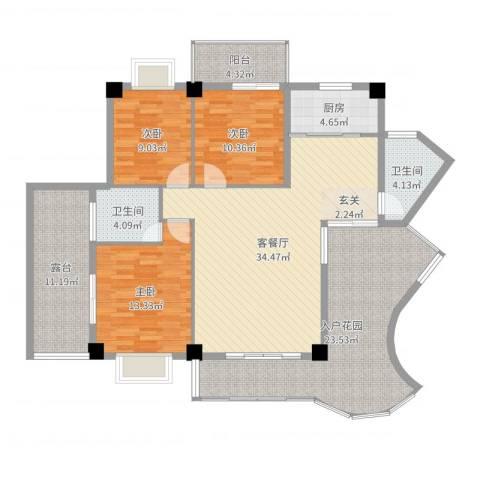 嘉业海华公寓3室2厅2卫1厨149.00㎡户型图