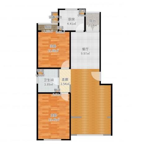翠海明筑2室0厅1卫1厨90.00㎡户型图