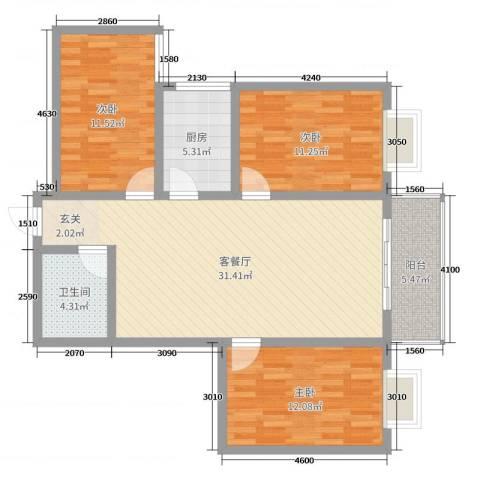 瑞金福邸3室2厅1卫1厨101.00㎡户型图