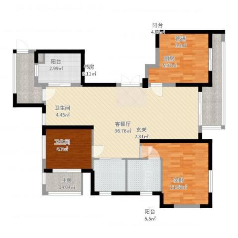 象山丹桂花园3室2厅2卫1厨123.00㎡户型图