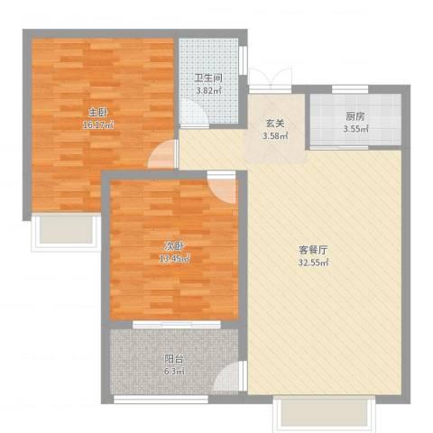 香榭一品2室2厅1卫1厨95.00㎡户型图