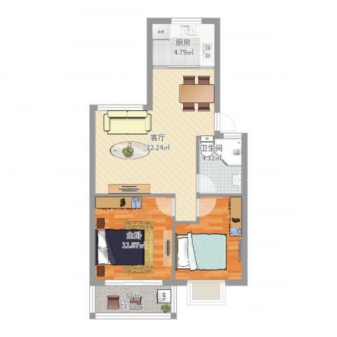 广厦怡庭1室1厅1卫1厨70.00㎡户型图