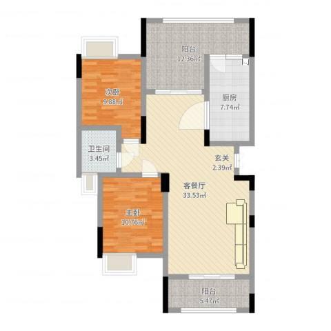 枫丹・圣堤亚纳2室2厅1卫1厨104.00㎡户型图