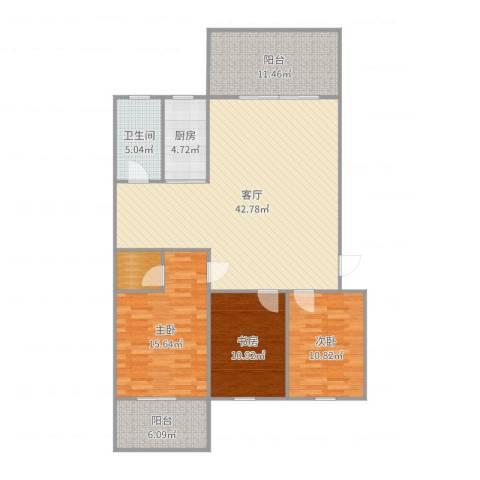 东坪山庄3室1厅2卫1厨137.00㎡户型图