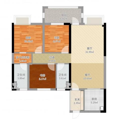 明园九龙湾3室1厅2卫1厨106.00㎡户型图