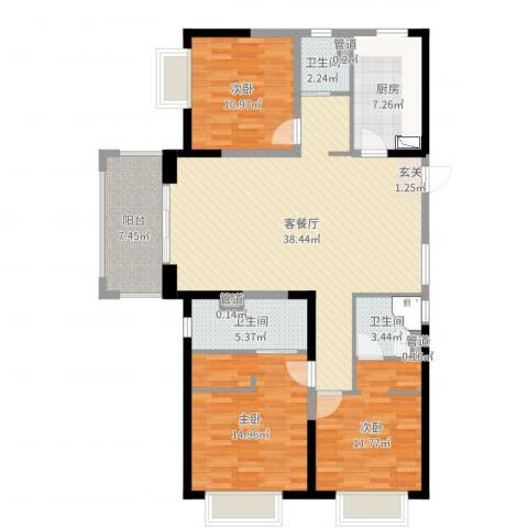 明园九龙湾3室2厅3卫1厨128.00㎡户型图