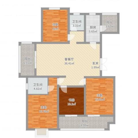 大丰区海棠花园4室2厅2卫1厨155.00㎡户型图