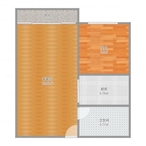 大洲新世纪广场8161室2厅1卫1厨51.10㎡户型图