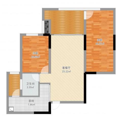 金科公园王府2室2厅1卫1厨98.00㎡户型图
