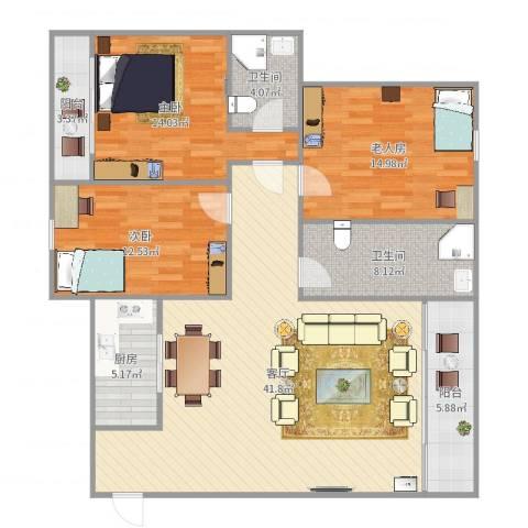 华福花园3室1厅2卫1厨137.00㎡户型图