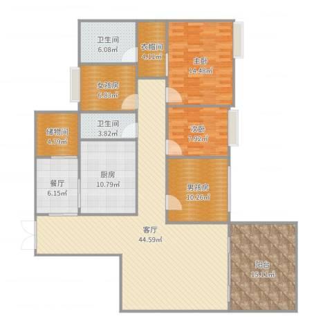宝利豪庭2室2厅2卫1厨169.00㎡户型图