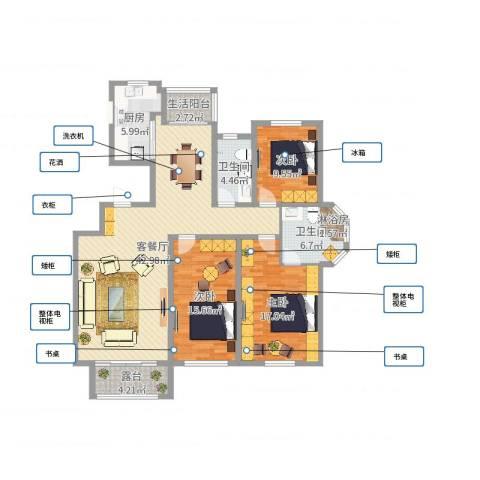 同济盛世家园3室2厅2卫1厨137.00㎡户型图