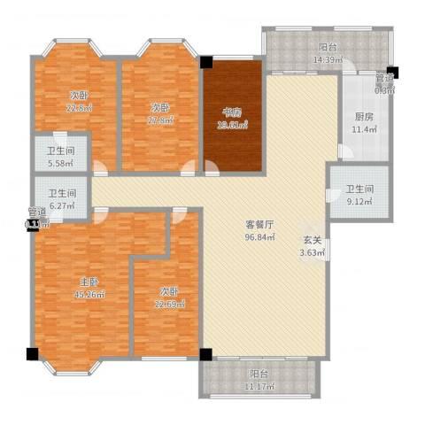 巴黎香榭5室2厅3卫1厨367.00㎡户型图
