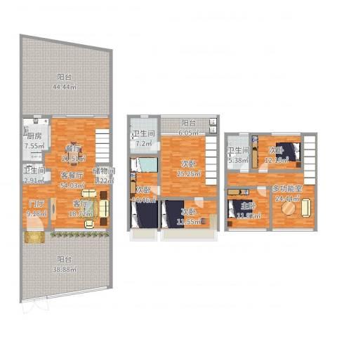 康湖山庄5室2厅3卫1厨334.00㎡户型图