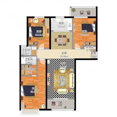 兆通华苑3室1厅3卫1厨143.00㎡户型图
