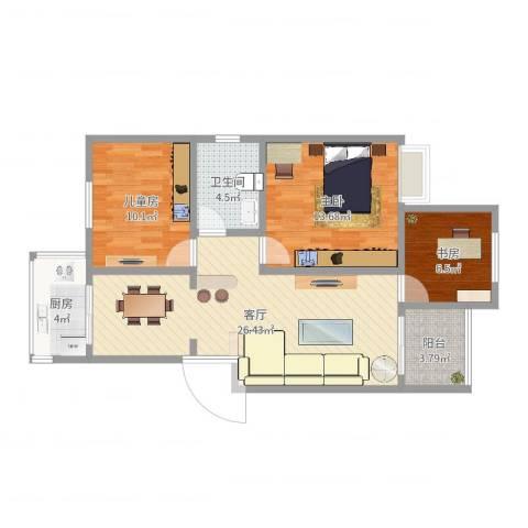 长庆湖滨花园3室1厅1卫1厨86.00㎡户型图