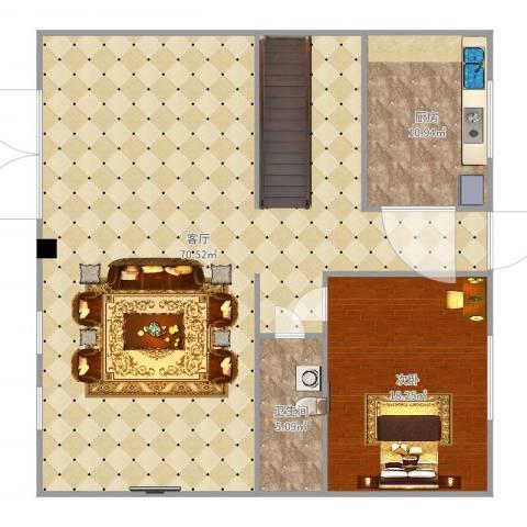 珍珠湾・风情小镇1室1厅1卫1厨131.00㎡户型图