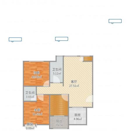 航空祥郡2室1厅4卫1厨92.00㎡户型图