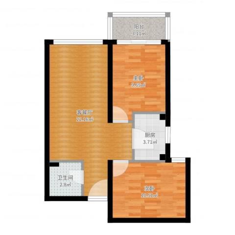 龙海南苑2室2厅1卫1厨65.00㎡户型图