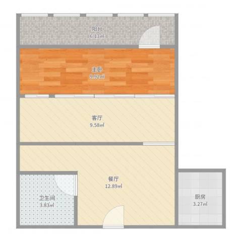太平桥东里1室2厅1卫1厨57.00㎡户型图