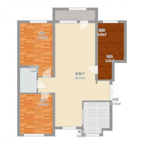 山河半岛3室2厅1卫1厨110.00㎡户型图