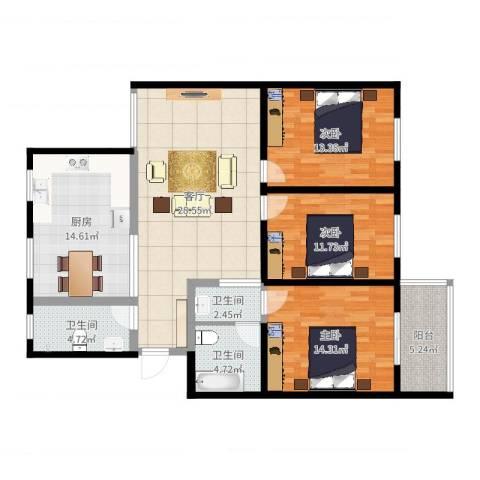 颐园世家3室1厅3卫1厨125.00㎡户型图
