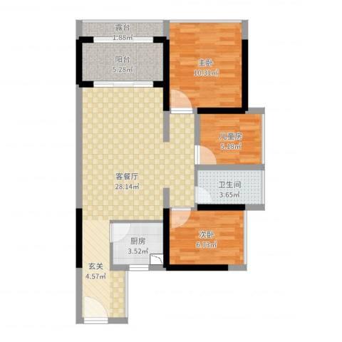 德丰二月天3室2厅1卫1厨81.00㎡户型图