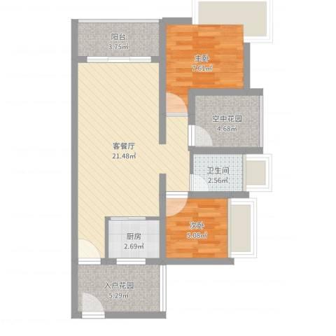 德丰二月天2室2厅1卫1厨66.00㎡户型图