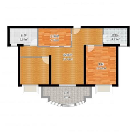 正大滨江瑞景家园2室2厅1卫1厨95.00㎡户型图