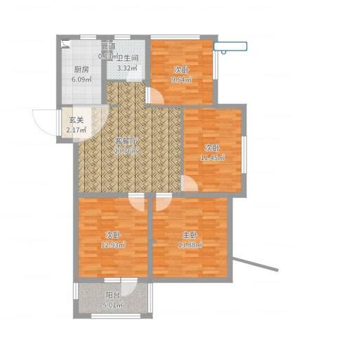 云溪美地花园4室2厅2卫1厨108.00㎡户型图