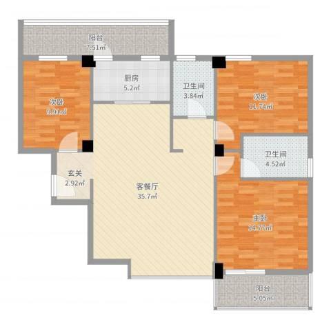 禧福泛海时代3室2厅2卫1厨123.00㎡户型图
