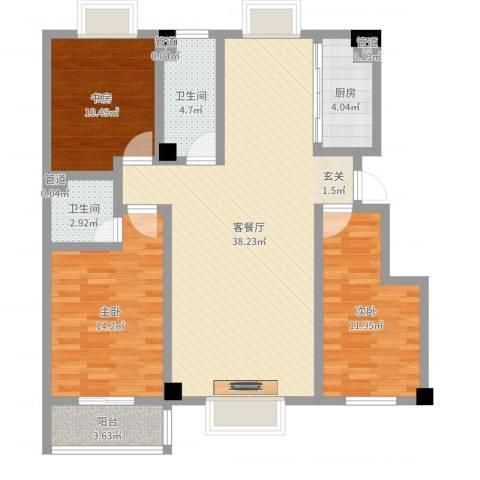 金鑫・杏林嘉园3室2厅2卫1厨113.00㎡户型图