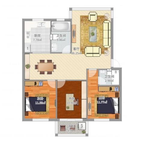 金庭家园3室1厅2卫1厨113.00㎡户型图