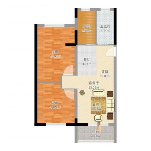 八水上筑2室2厅1卫1厨84.00㎡户型图