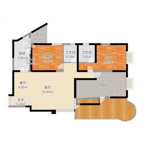 龙汇花园2室1厅2卫1厨196.00㎡户型图