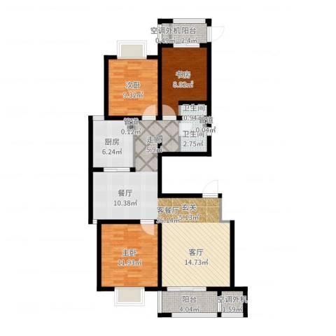 加州壹号3室2厅2卫1厨106.00㎡户型图